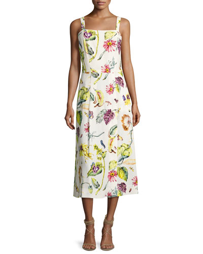 Floral Leaf-Print A-Line Dress, Multi Pattern