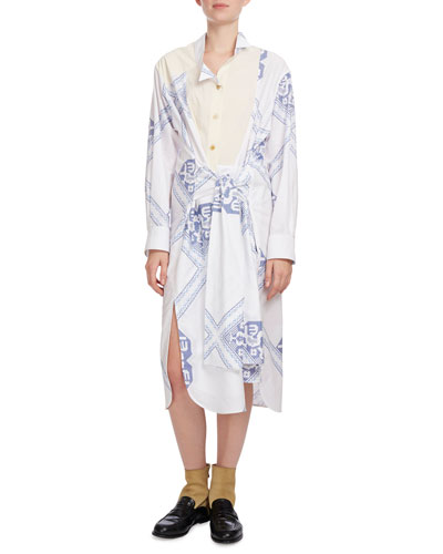 Long-Sleeve Geometric-Print Shirtdress, Blue/White