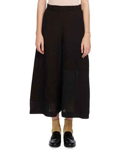 Linen Culotte Trousers, Black