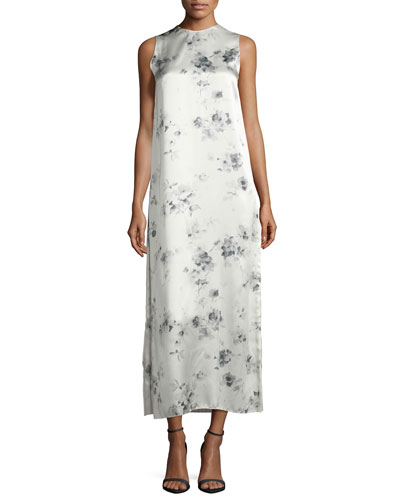 Sleeveless Floral-Print Midi Dress, Charcoal