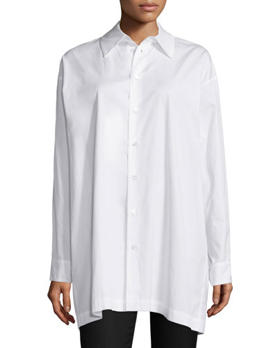 Long-Sleeve A-Line Poplin Blouse, White