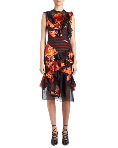 Sleeveless Floral-Print Chiffon Dress, Multi