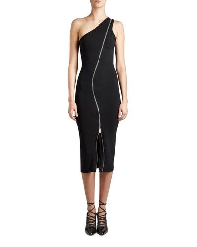 One-Shoulder Zip-Trim Dress, Black