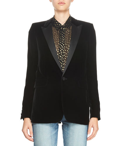 Velvet One-Button Blazer, Black