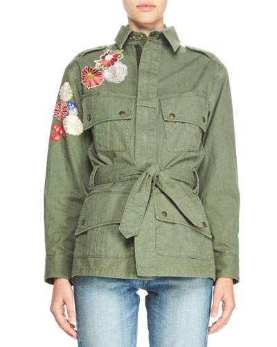 Patchwork Embroidered Cargo Jacket, Olive
