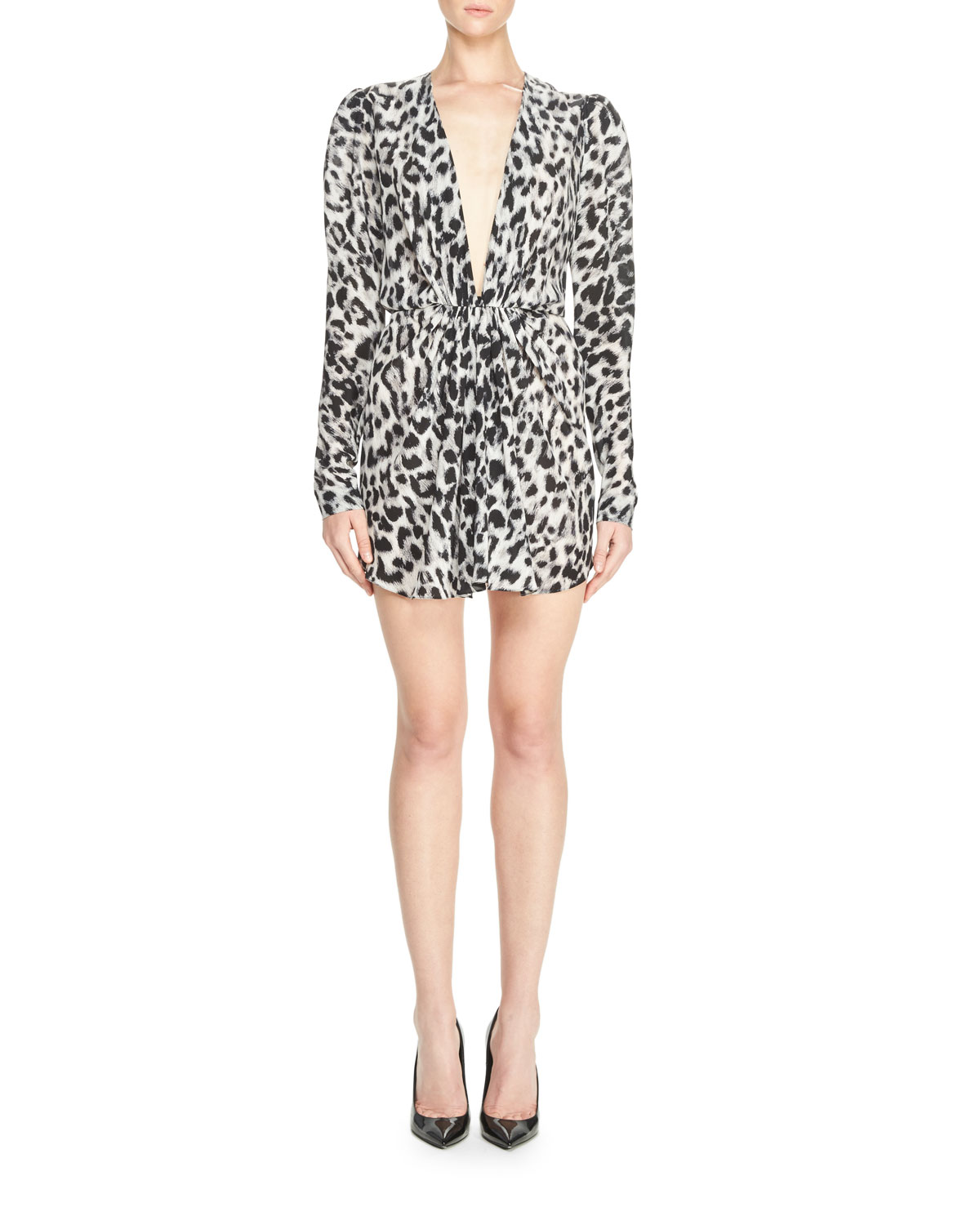 Leopard-Print Crepe de Chine Dress, Black/White
