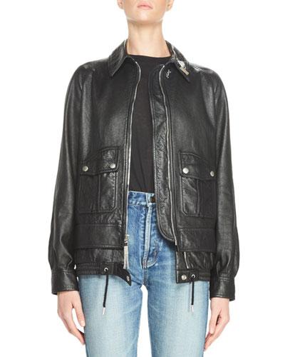 Leather Moto Jacket w/Pins, Black
