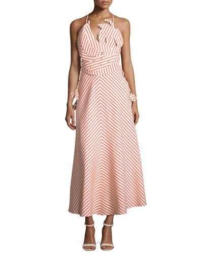 Tutti Frutti Tropical Striped Dress, Beige