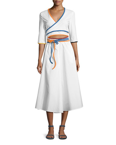 Rainbow-Piped Wrap Dress, White