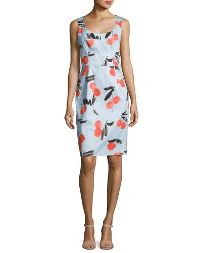 Sleeveless Cherry-Print Day Dress