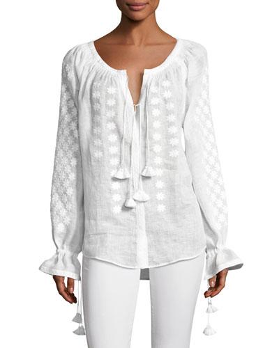 Embroidered Tassel-Tie Linen Blouse, White