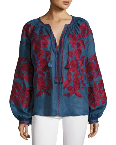 Puff-Sleeve Embroidered Peasant Blouse, Blue/Red