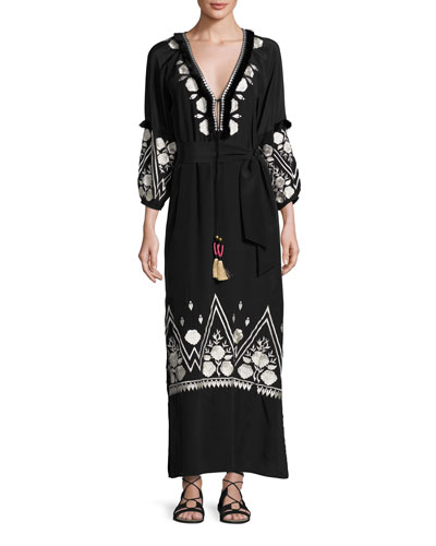 Lola Embroidered Silk Maxi Dress, Black