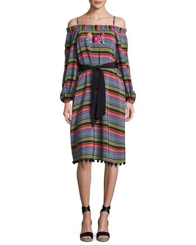 Sarita Striped Cold-Shoulder Dress