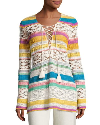 Carita Striped Macrame Tunic, Multi