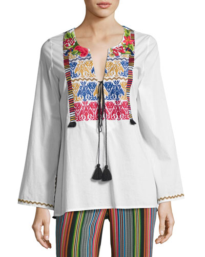 Renata Embroidered Tassel Top, White