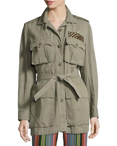 Embellished Safari Jacket, Green