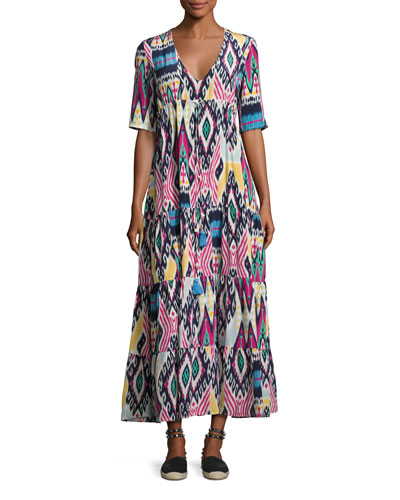 Kailia Ikat-Print Maxi Dress