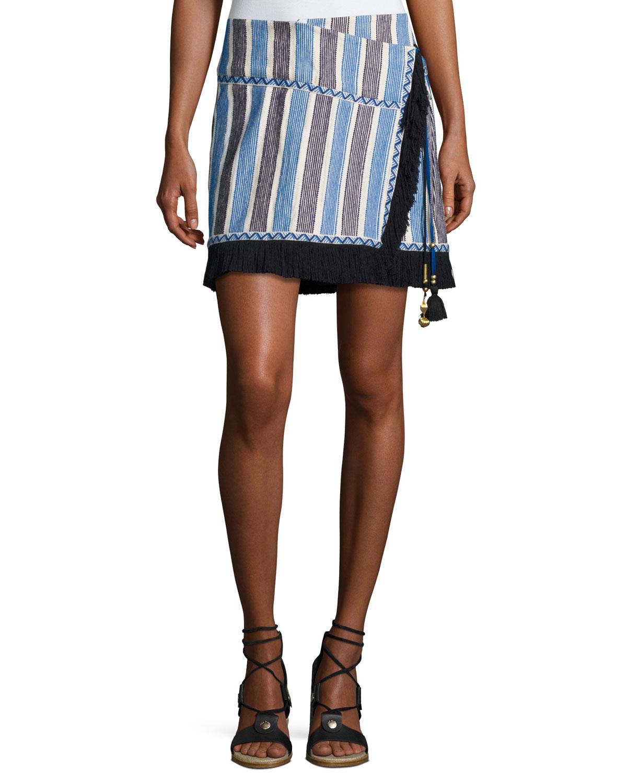 Lillian Fringed Wrap Skirt, White/Multi