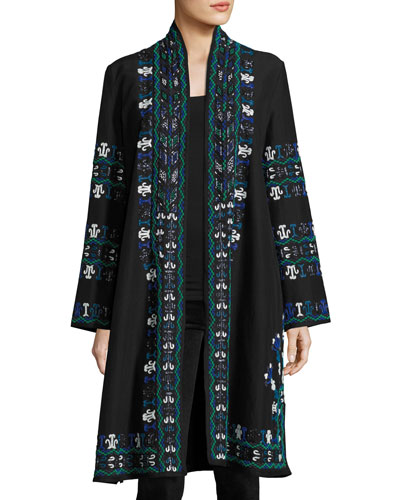 Martina Embroidered Cotton Jacket, Blue/Multi
