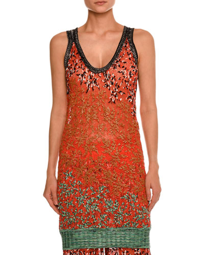 Leaf-Embroidered Tank Top, Red