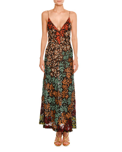 Embroidered Lace V-Neck Sleeveless Gown, Multi