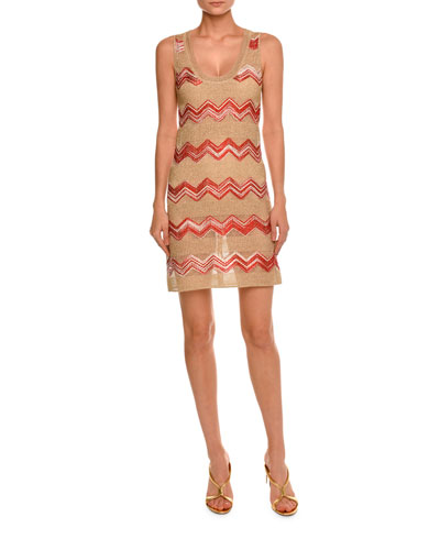 Zigzag Sleeveless Scoop-Neck Dress, Gold/Red