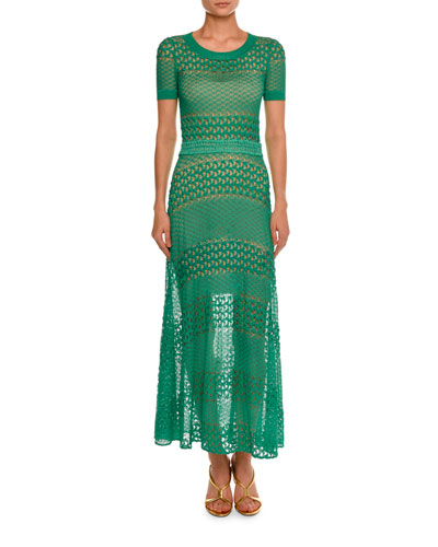 Short-Sleeve Crewneck Open-Knit Gown, Green