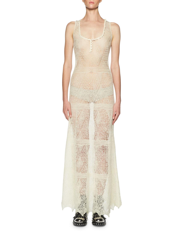 Crocheted Lace Maxi Dress, Ivory