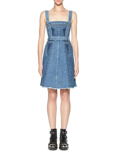 Sleeveless Denim A-Line Dress, Blue