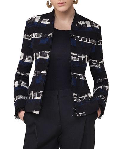 Zip-Up Tweed Bomber Jacket, Blue Pattern