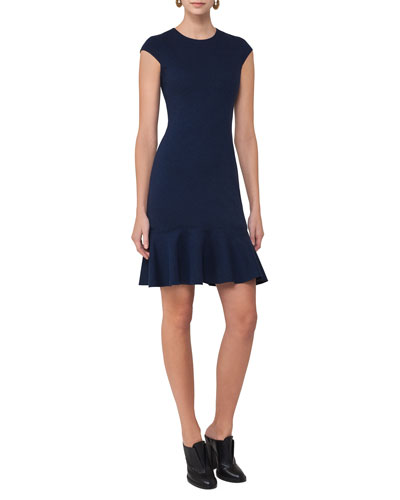 Cap-Sleeve Jersey Flounce-Hem Dress, Navy