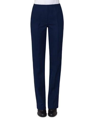 Merit Straight-Leg Wool Pants, Navy