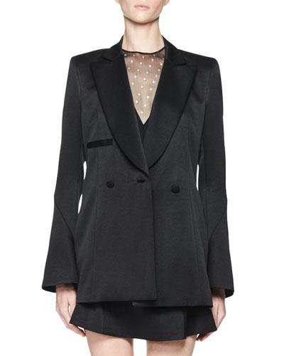 Tosca Satin Bell-Sleeve Jacket, Black