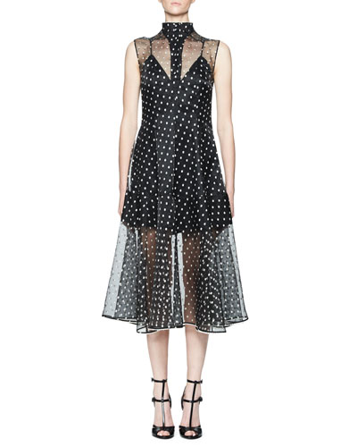 Tolka Sleeveless Organza Dot Dress, Black