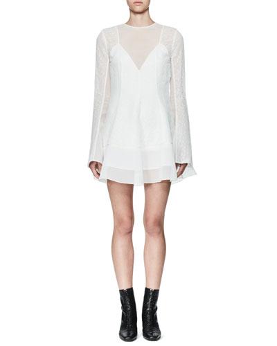 Tentel Long-Sleeve Organza Dress, White