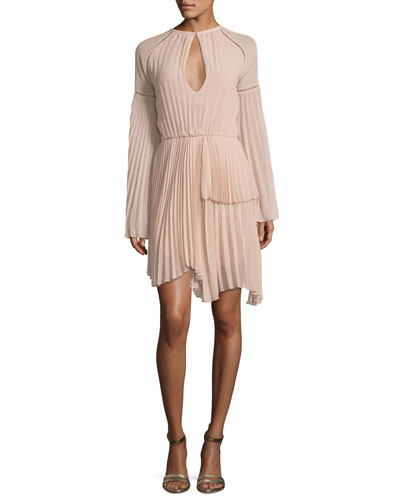 Pleated Long-Sleeve Cocktail Dress, Flesh