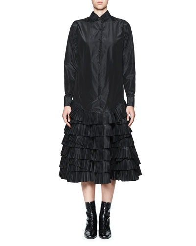 Taftas Silk Taffeta Shirtdress w/Tiered Ruffles, Black