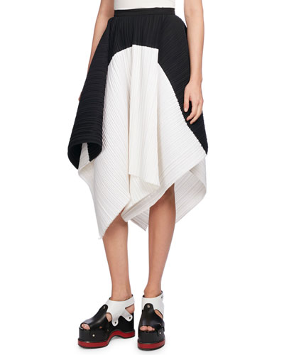 Plissé Colorblock Asymmetric-Hem Skirt