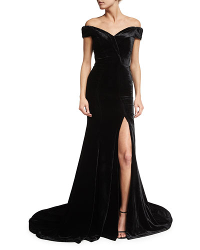 Velvet Off-Shoulder Gown, Black
