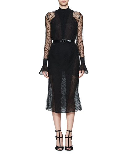 Tentel Long-Sleeve Sheer Lace Midi Dress, Black