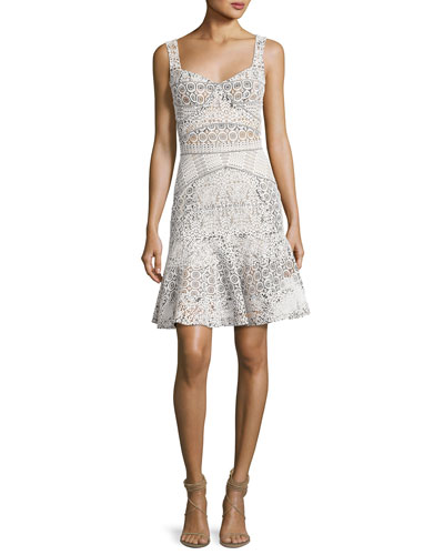 Sleeveless Drop-Waist Lace Dress, White
