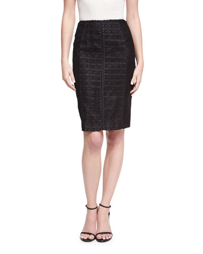 Geometric Lace Pencil Skirt