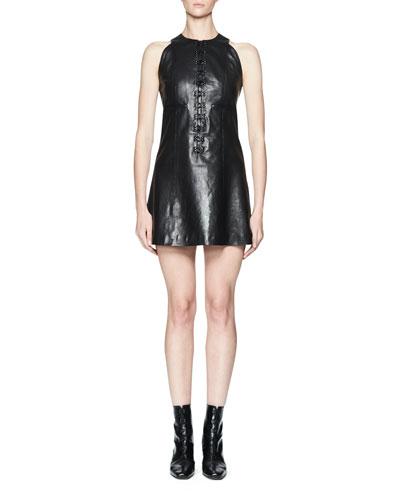 Nator Sleeveless Leather Shift Dress, Black