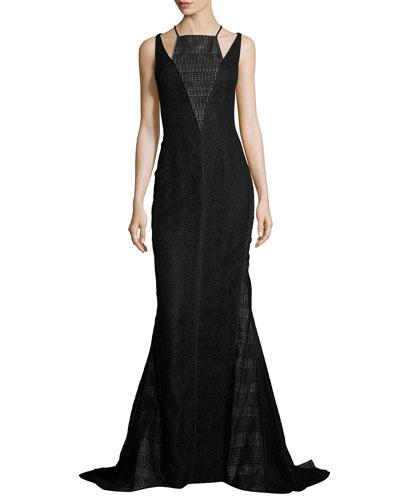 Lace & Velvet Halter Gown