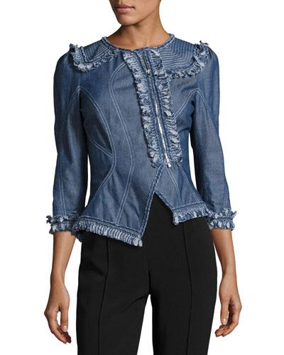 Asymmetric Denim Jacket, Medium Blue