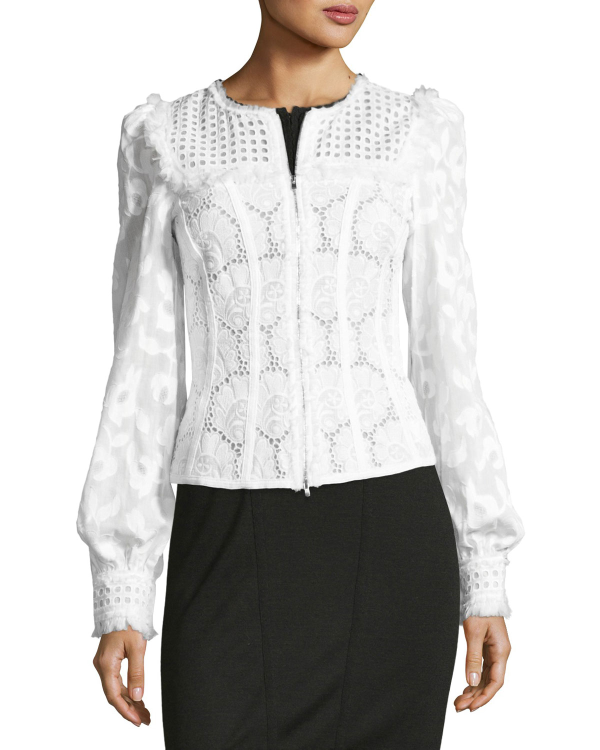 Zip-Front Lace Eyelet Jacket, White