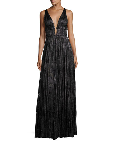 Classic Marilyn Pleated Metallic Silk Gown, Black