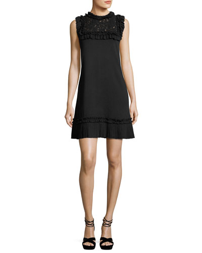 Sleeveless Ruffled Lace-Trim Dress