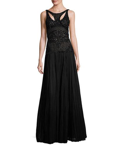 Leaf & Lattice Embroidered Silk Gown, Black Pattern